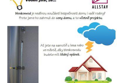 Bleskosvod v ceně domu dřevostavby