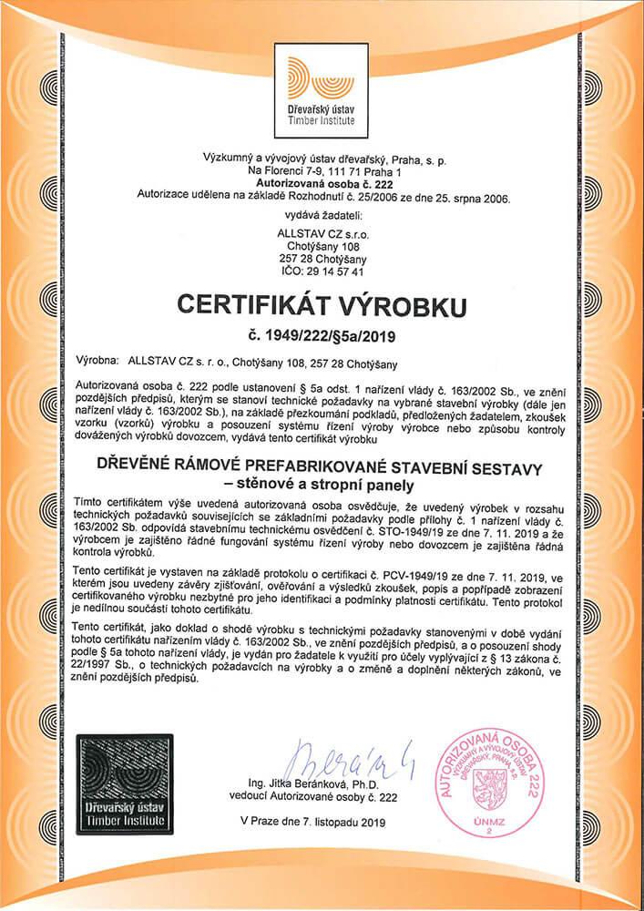 Certifikát výrobku (Výzkumný a vývojový ústav dřevařský)