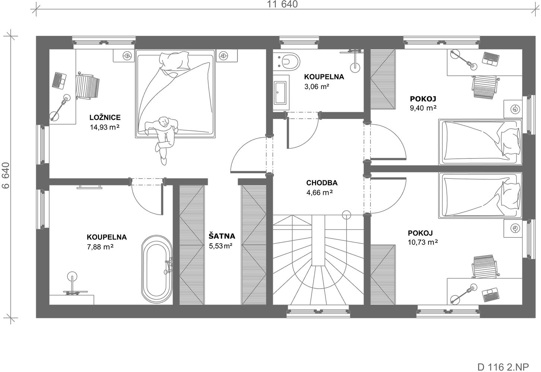 Schéma dřevostavby Dům 116