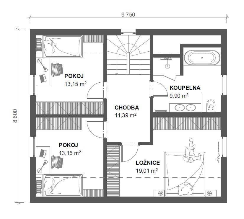 Schéma dřevostavby Dům 132