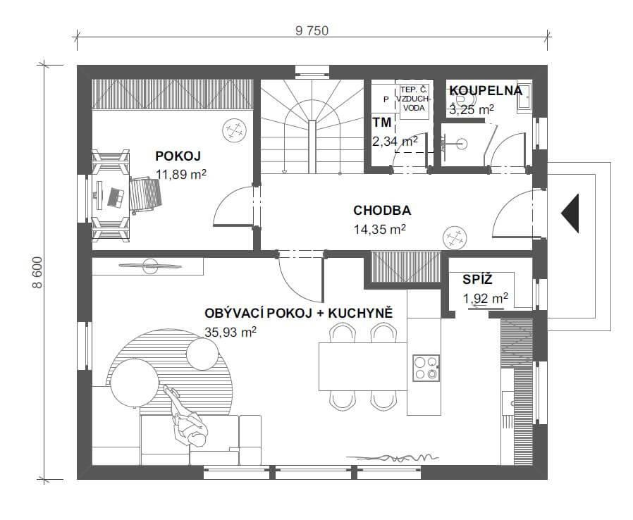 Půdorys dřevostavby Dům 132