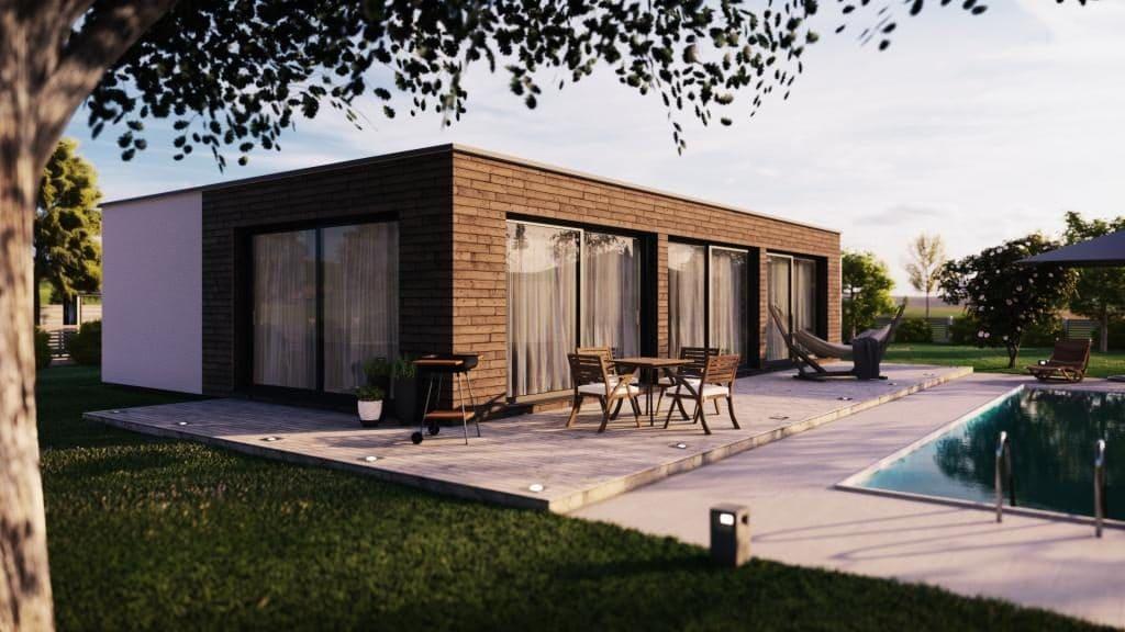 Dům 135 Allstav dřevostavby pohled ze zahrady