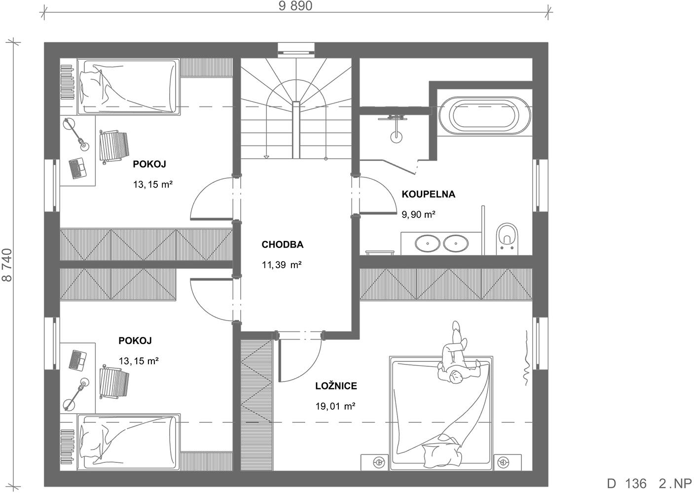 Schéma dřevostavby Dům 136