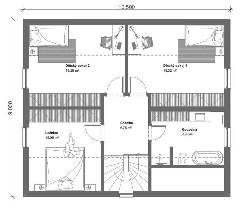 Schéma dřevostavby Dům 148