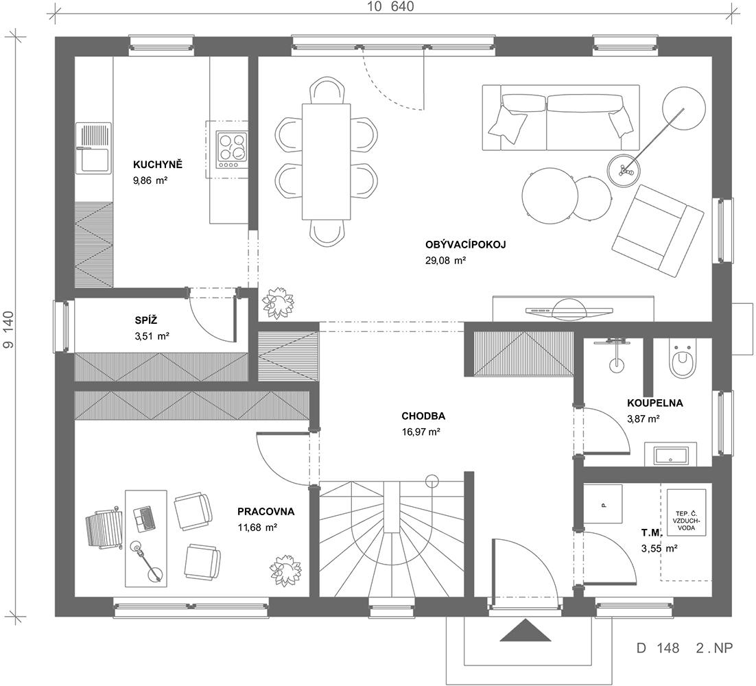 Půdorys dřevostavby Dům 148