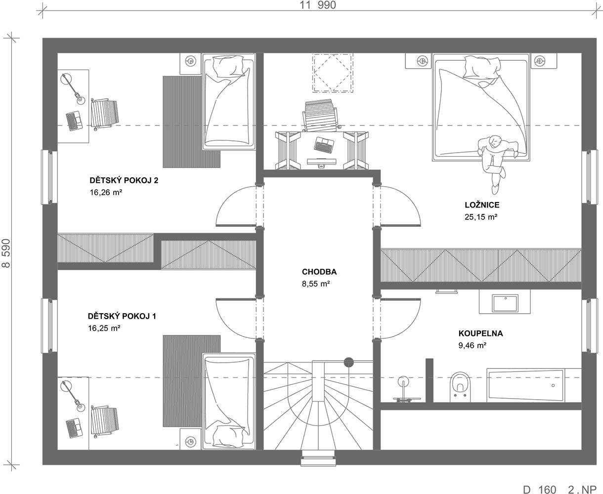 Schéma dřevostavby Dům 160