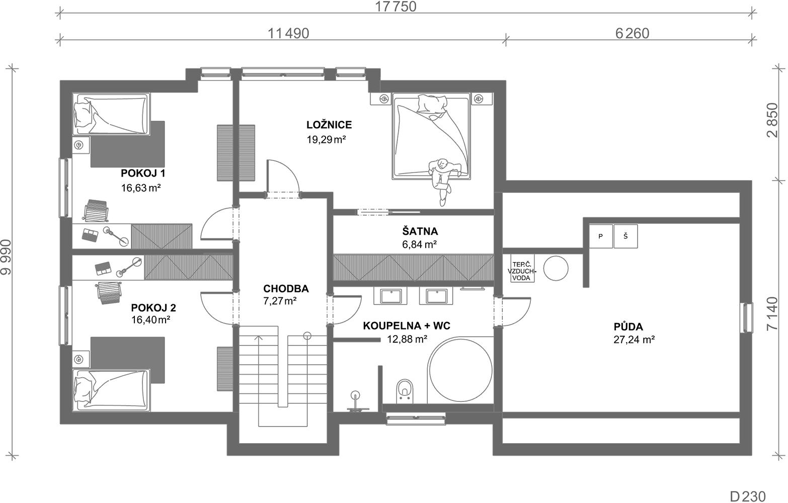 Schéma dřevostavby Dům 230